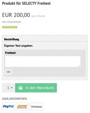 Text Eingabe beim Produkt Plugin